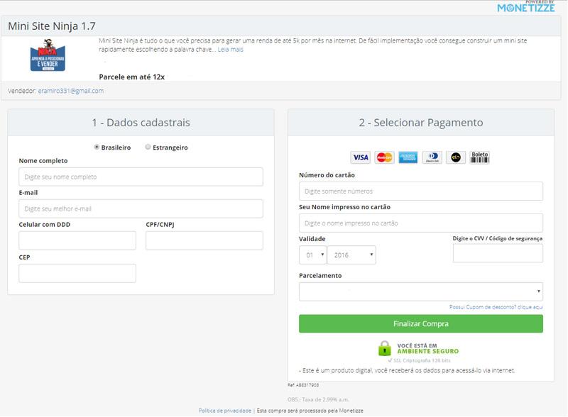 curso mini site ninja area de pagamento